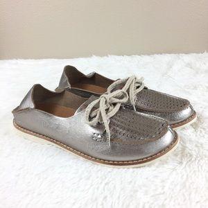 OluKai Moku Perf Silver Perforated Leather Sneaker